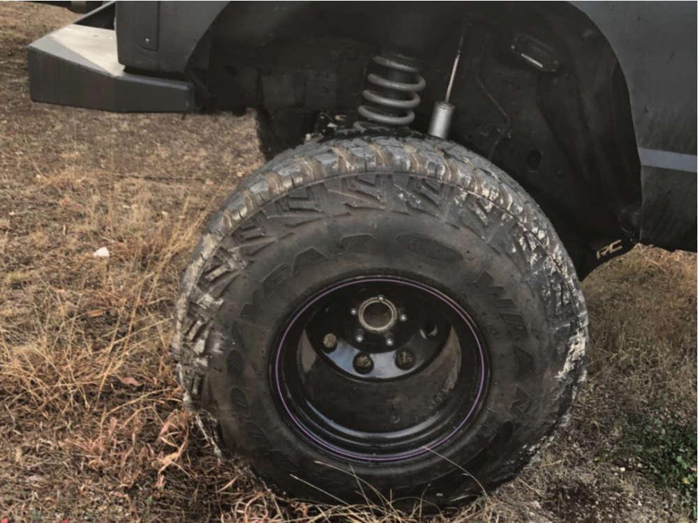 "1997 Jeep Cherokee Hella Stance >5"" on 15x14 -63.5 offset Bart Stock Car Standard Weight & 33""x12.5"" Goodyear Wrangler All Terrain Adventure Kevlar on Suspension Lift 6.5"" - Custom Offsets Gallery"