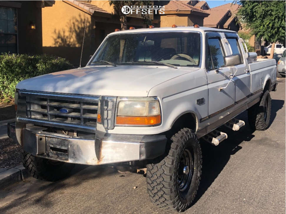 1995 Ford F-350 Slightly Aggressive on 16x6.5 0 offset American Racing Vintage Rally and 295/70 Falken Wildpeak Mt on Leveling Kit - Custom Offsets Gallery