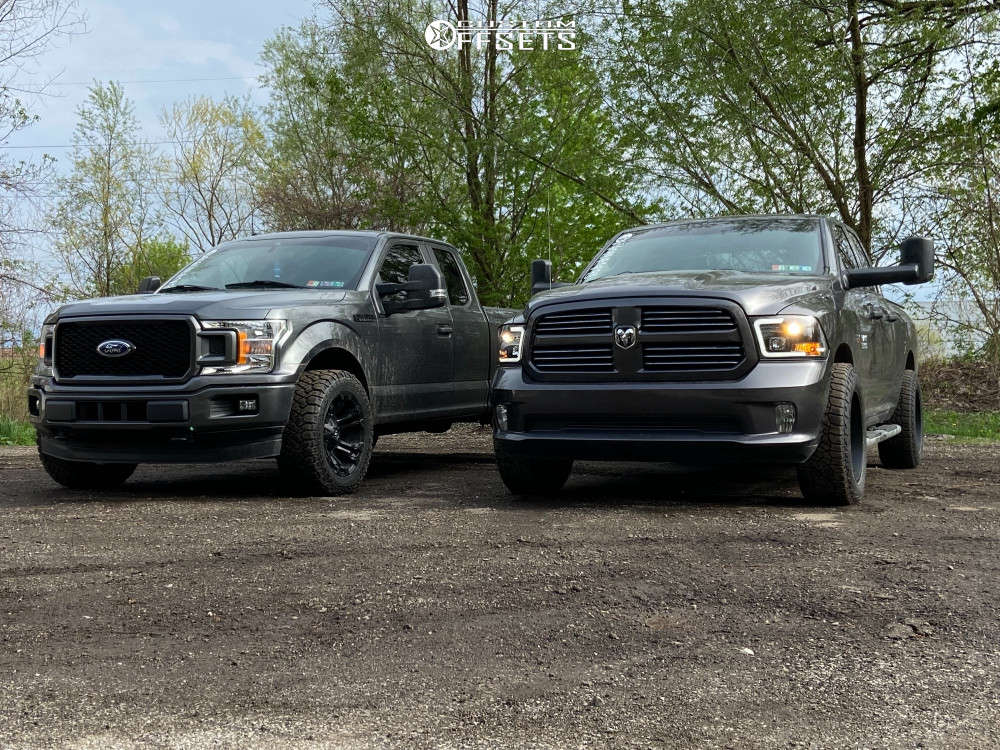 """2015 Ram 1500 Aggressive > 1"""" outside fender on 20x10.5 -31.35 offset Ultra Menace and 33""""x12.5"""" Falken Wildpeak At3w on Stock Suspension - Custom Offsets Gallery"""