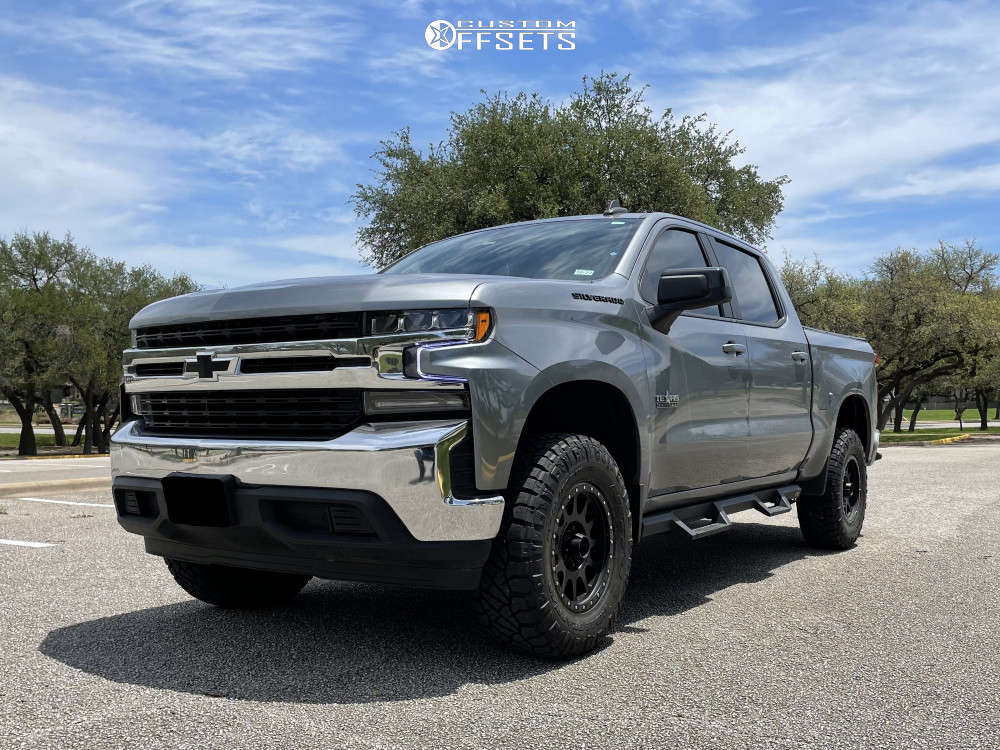 "2021 Chevrolet Silverado 1500 HellaFlush on 18x9 18 offset Method Mr305 & 295/70 Nitto Ridge Grappler on Suspension Lift 3.5"" - Custom Offsets Gallery"