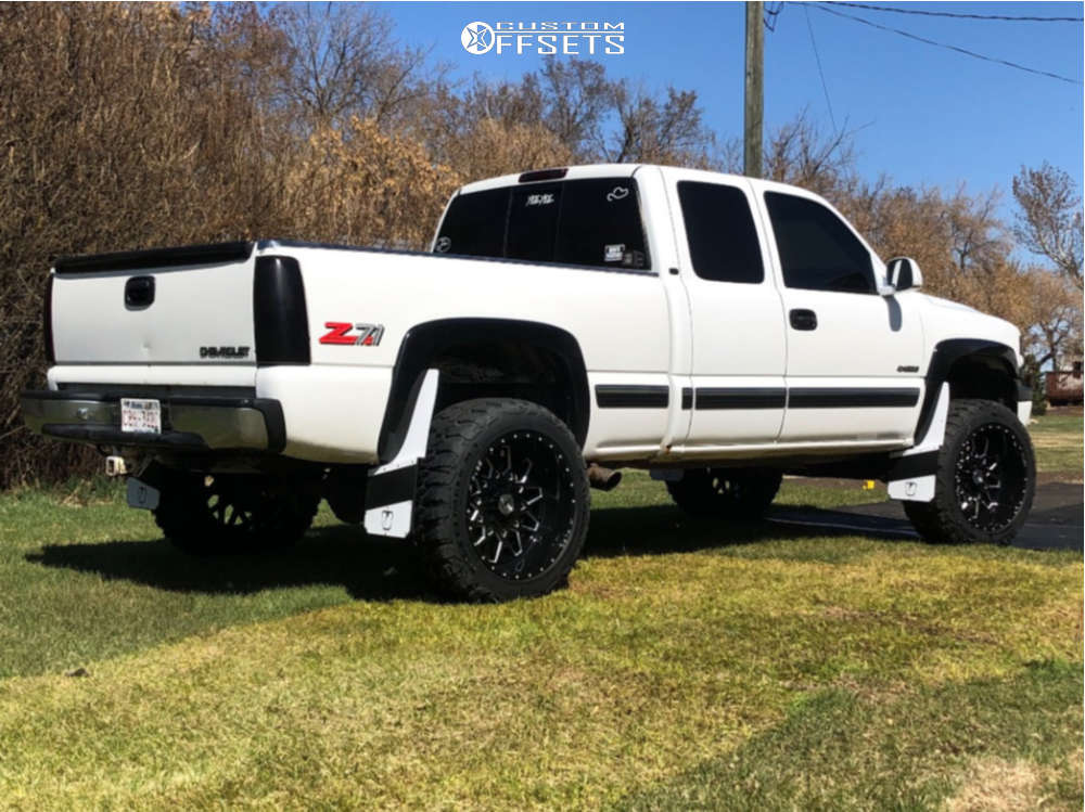 """1999 Chevrolet Silverado 1500 Super Aggressive 3""""-5"""" on 22x12 -44 offset XF Flow Xfx-307 and 35""""x12.5"""" Suretrac Wide Climber M/t on Suspension Lift 6"""" - Custom Offsets Gallery"""