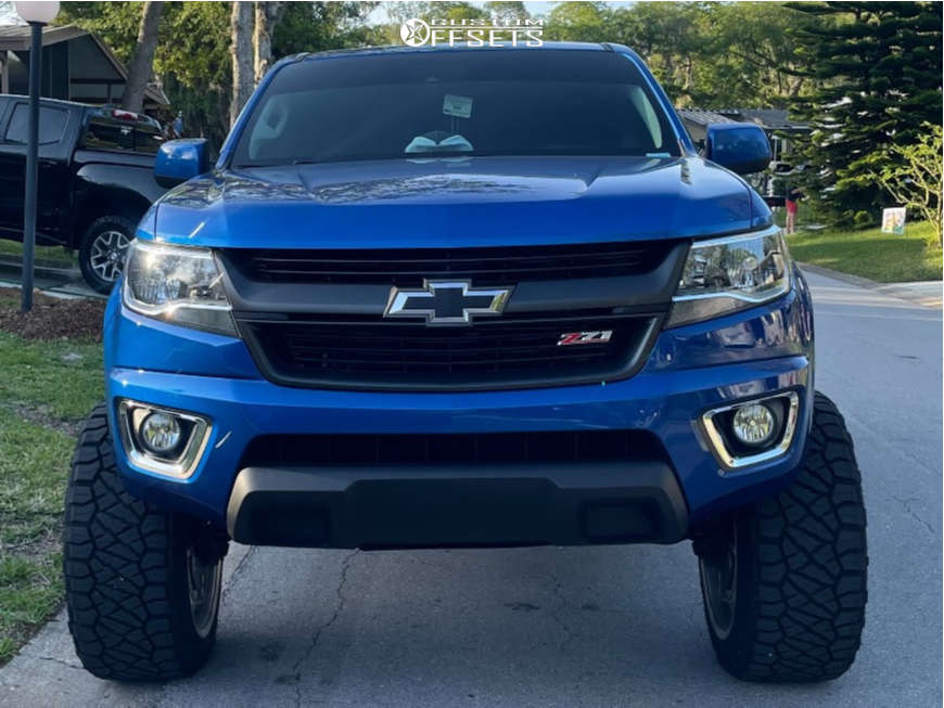 """2020 Chevrolet Colorado Super Aggressive 3""""-5"""" on 22x12 -40 offset American Force Flux Ss & 33""""x12.5"""" Nitto Ridge Grapplers on Suspension Lift 7"""" - Custom Offsets Gallery"""