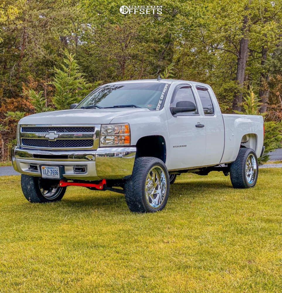 "2012 Chevrolet Silverado 1500 Aggressive > 1"" outside fender on 22x10 -19 offset Motiv Offroad Morph and 305/45 Atturo Az800 on Suspension Lift 6.5"" - Custom Offsets Gallery"