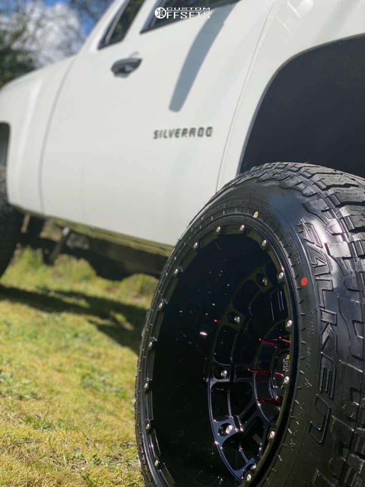 "2011 Chevrolet Silverado 1500 Hella Stance >5"" on 20x14 -76 offset XD Hoss 2 and 33""x12.5"" Falken Wildpeak A/t on Suspension Lift 6"" - Custom Offsets Gallery"