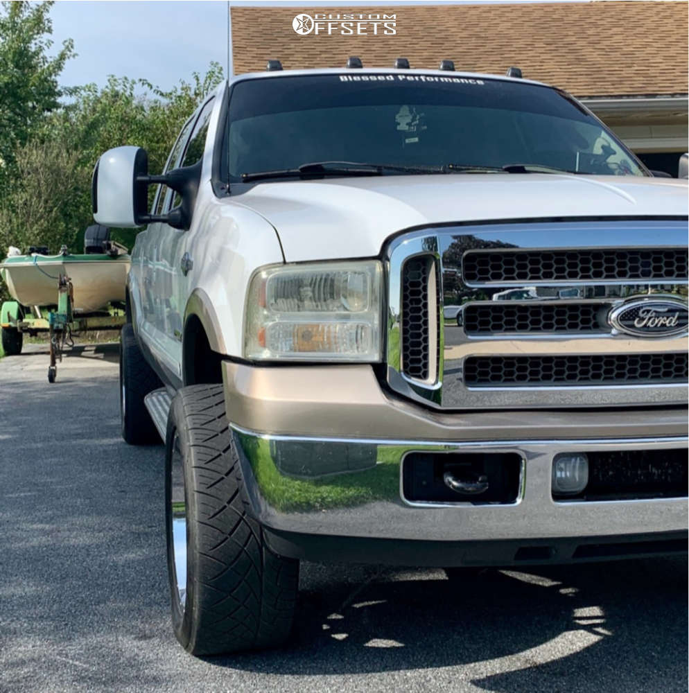 """2006 Ford F-350 Aggressive > 1"""" outside fender on 20x10 -24 offset Fuel Maverick and 305/50 Nitto Nt420s on Level 2"""" Drop Rear - Custom Offsets Gallery"""