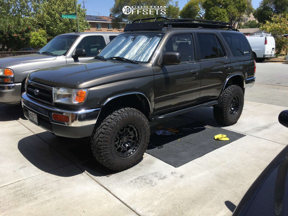 """1998 Toyota 4Runner Aggressive > 1"""" outside fender on 16x8 0 offset KMC Km718 and 265/75 Goodyear Wrangler Duratrac on Suspension Lift 3"""" - Custom Offsets Gallery"""