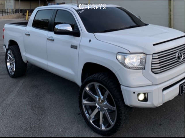 """2017 Toyota Tundra Aggressive > 1"""" outside fender on 26x10 -24 offset KMC Slide and 35""""x13.5"""" Pioneer Pioneer M/t on Suspension Lift 3"""" - Custom Offsets Gallery"""