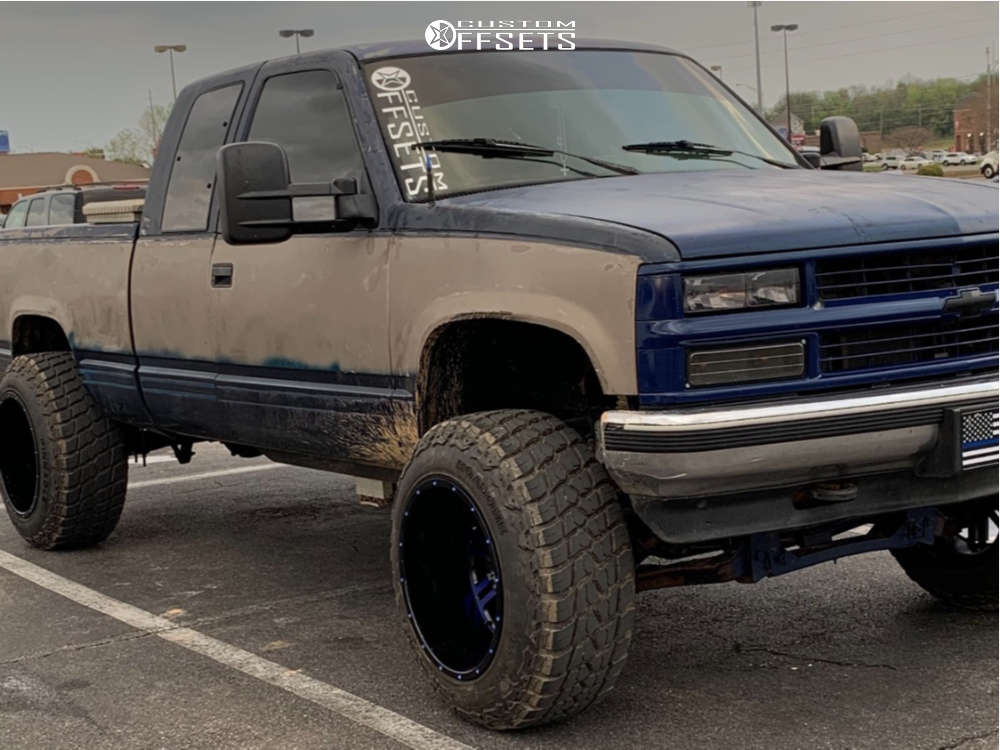 """1994 Chevrolet K1500 Super Aggressive 3""""-5"""" on 20x14 -76 offset American Offroad A106 and 35""""x12.5"""" Road One Aethon M/t on Air Suspension - Custom Offsets Gallery"""