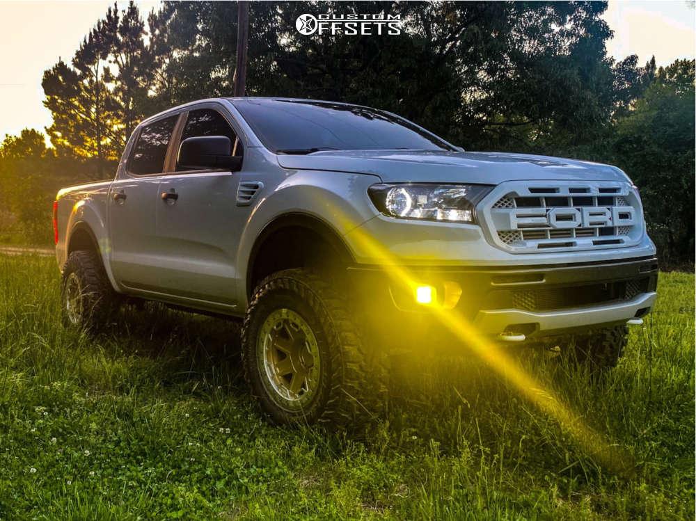 """2021 Ford Ranger Super Aggressive 3""""-5"""" on 17x8.5 -30 offset Black Rhino Rift Beadlock and 285/70 Yokohama Geolandar Mt G003 on Leveling Kit - Custom Offsets Gallery"""