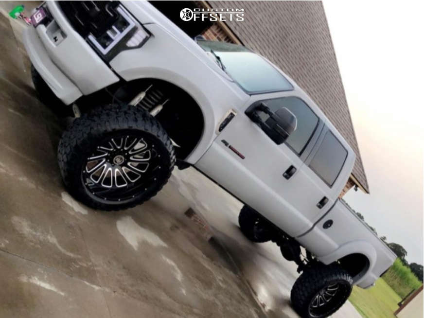 """2006 Ford F-350 Super Duty Aggressive > 1"""" outside fender on 26x14 -76 offset Hardcore Offroad HC21 & 40""""x15.5"""" Ironman All Country M/t on Suspension Lift 10"""" - Custom Offsets Gallery"""
