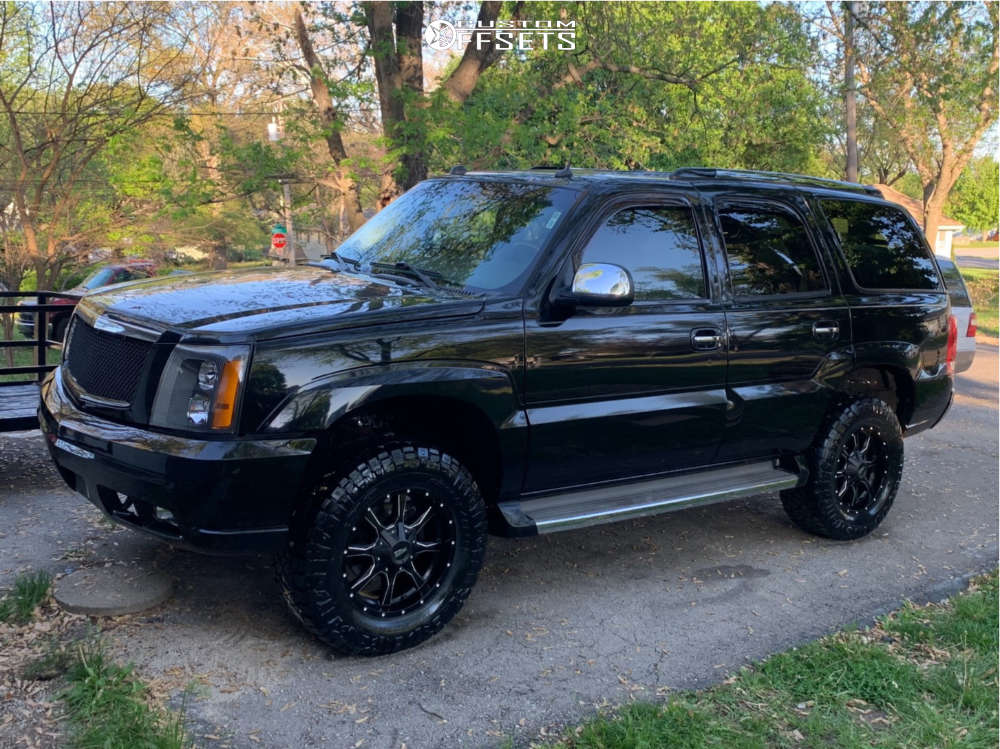 """2005 Cadillac Escalade Aggressive > 1"""" outside fender on 18x9 0 offset Moto Metal Other and 33""""x12.5"""" Nitto Ridge Grappler on Suspension Lift 3"""" - Custom Offsets Gallery"""