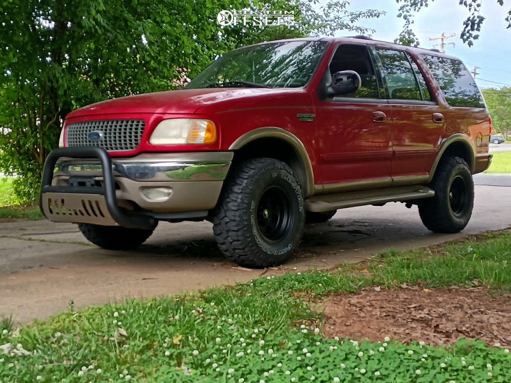 """2001 Ford Expedition Aggressive > 1"""" outside fender on 16x10 -25 offset American Racing Ar172 and 305/70 Milestar Patagonia Mt on Suspension Lift 3"""" - Custom Offsets Gallery"""