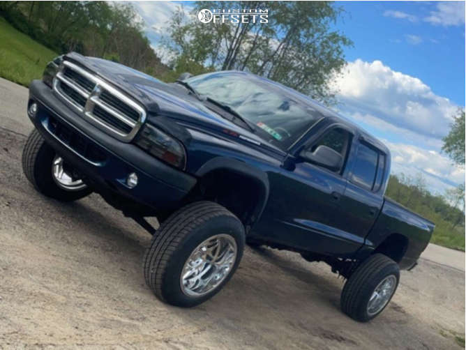 """2003 Dodge Dakota Hella Stance >5"""" on 20x12 -51 offset Cali Off-Road Gemini and 33""""x12.5"""" Tiger Paw Uniroyal on Suspension Lift 7"""" - Custom Offsets Gallery"""
