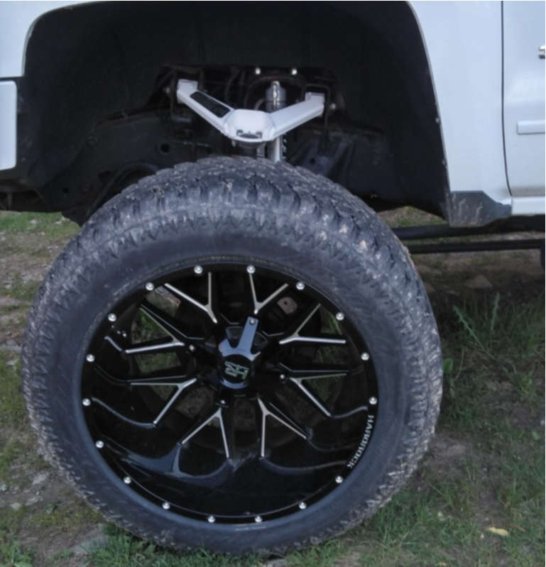 "2015 Chevrolet Silverado 3500 HD Super Aggressive 3""-5"" on 24x14 -76 offset Hardrock Affliction and 345/50 Atturo Trail Blade ATS on Suspension Lift 7.5"" - Custom Offsets Gallery"