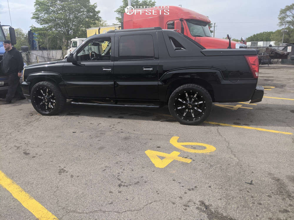 """2004 Cadillac Escalade EXT Aggressive > 1"""" outside fender on 22x10 -19 offset Alloy Ion Style 184 & 305/45 Toyo Tires Trail Grappler on Stock Suspension - Custom Offsets Gallery"""