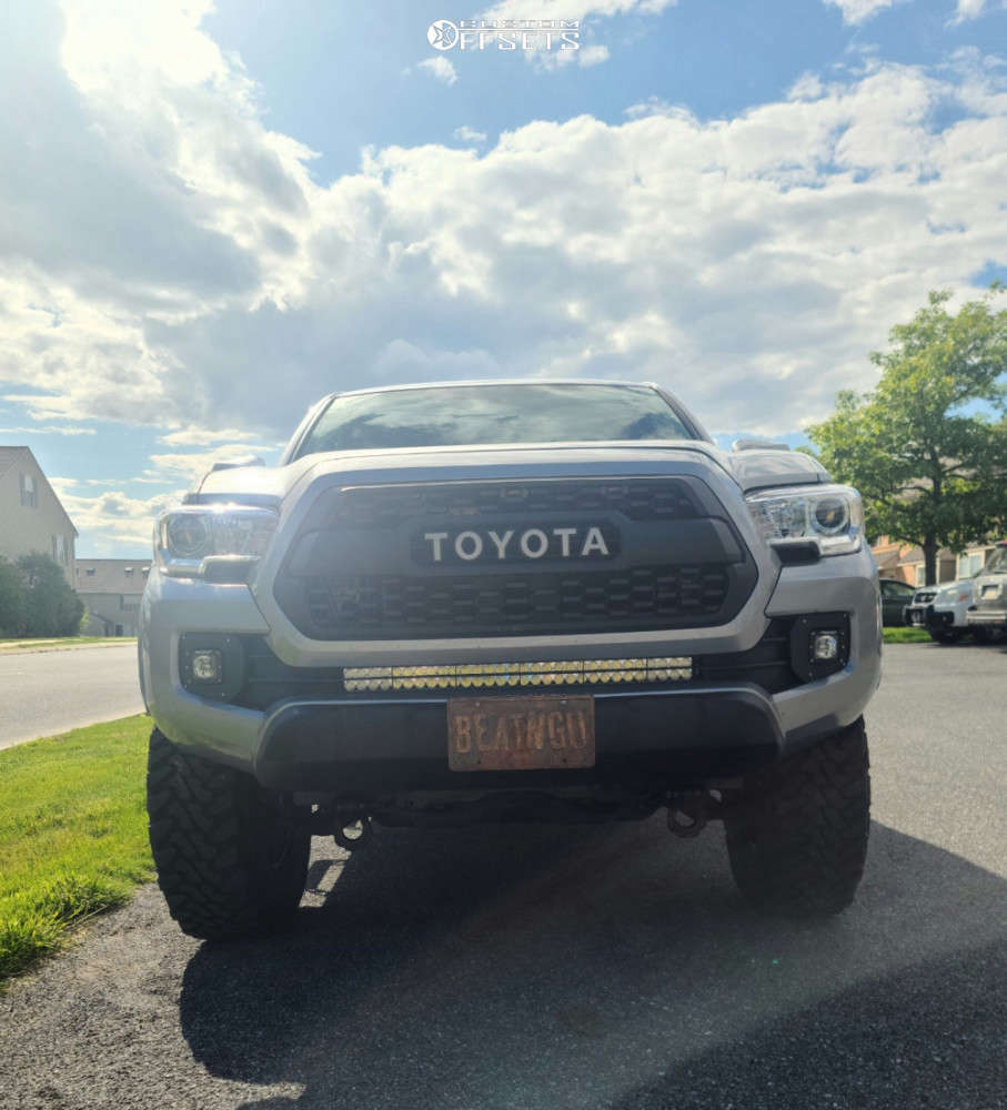 """2017 Toyota Tacoma Slightly Aggressive on 16x8 13 offset Black Rock D Widow and 285/75 Toyo Tires Open Country M/t on Suspension Lift 3"""" - Custom Offsets Gallery"""
