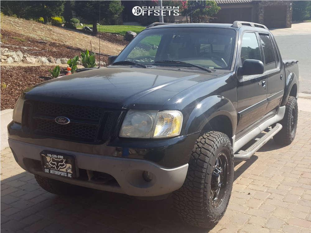 """2002 Ford Explorer Sport Trac Aggressive > 1"""" outside fender on 17x9 18 offset Mayhem Monstir & 285/70 Falken Wild Peak At3w on Leveling Kit - Custom Offsets Gallery"""