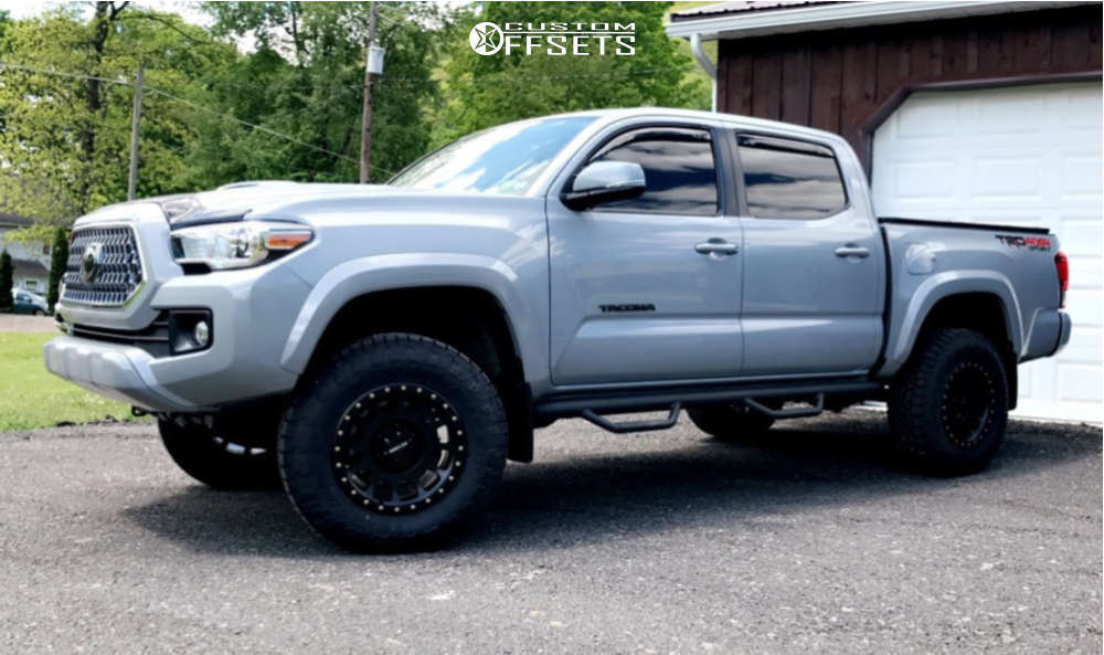 2019 Toyota Tacoma HellaFlush on 17x8.5 0 offset Method Mr305 and 265/70 Toyo Tires Open Country A/t Ill on Leveling Kit - Custom Offsets Gallery