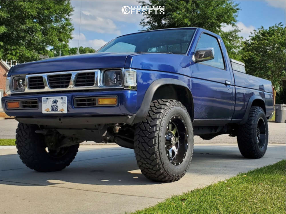 """1994 Nissan D21 Aggressive > 1"""" outside fender on 17x9 -12 offset Gear Off-road Big Block and 265/70 Kenda Klever M/t on Suspension Lift 3"""" - Custom Offsets Gallery"""