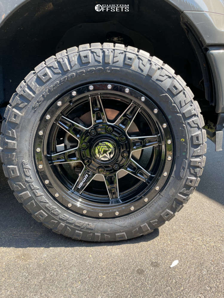 """2018 Ford F-150 Aggressive > 1"""" outside fender on 20x10 -18 offset Anthem Off-Road Rogue and 33""""x12.5"""" Nitto Ridge Grappler on Leveling Kit - Custom Offsets Gallery"""