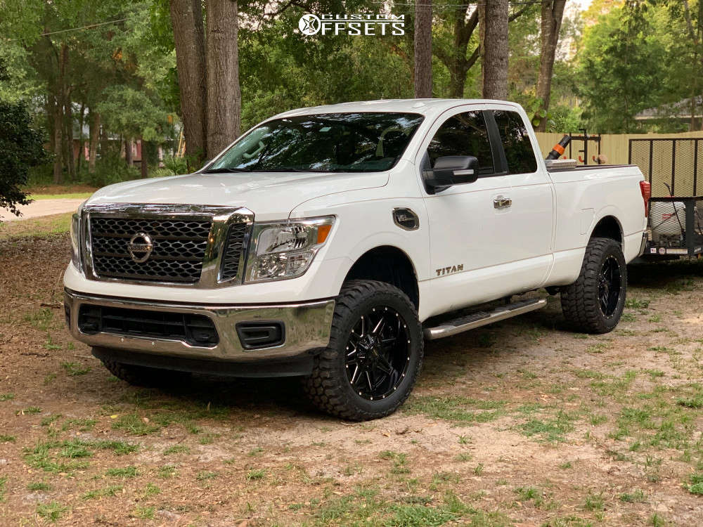 """2017 Nissan Titan Aggressive > 1"""" outside fender on 20x9.5 0 offset Pro Comp Series 42 and 33""""x12.5"""" Achilles Desert Hawk Xmt on Suspension Lift 3"""" - Custom Offsets Gallery"""