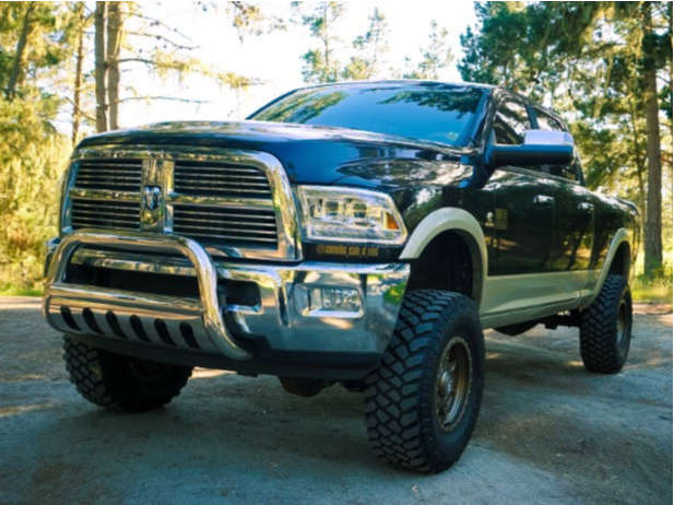 """2011 Ram 2500 Aggressive > 1"""" outside fender on 17x9 -12 offset Anthem Off-Road Rogue and 35""""x12.5"""" Firestone Destination Mt2 on Suspension Lift 5"""" - Custom Offsets Gallery"""