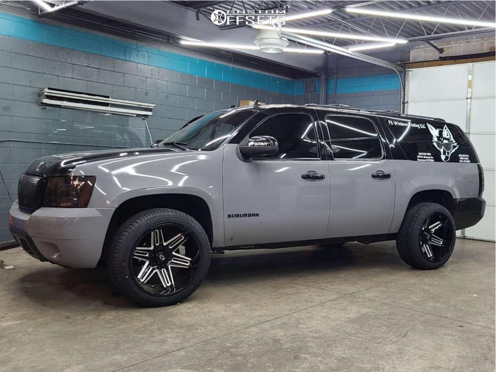 "2013 Chevrolet Suburban 1500 Super Aggressive 3""-5"" on 22x12 -51 offset Vision Razor & 285/45 Achilles Desert Hawk Uhp on Stock Suspension - Custom Offsets Gallery"