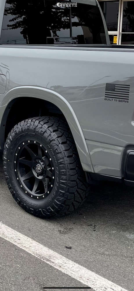 2020 Ram 1500 Slightly Aggressive on 18x9 0 offset Icon Alloys Rebound and 305/65 Nitto Ridge Grappler on Leveling Kit - Custom Offsets Gallery
