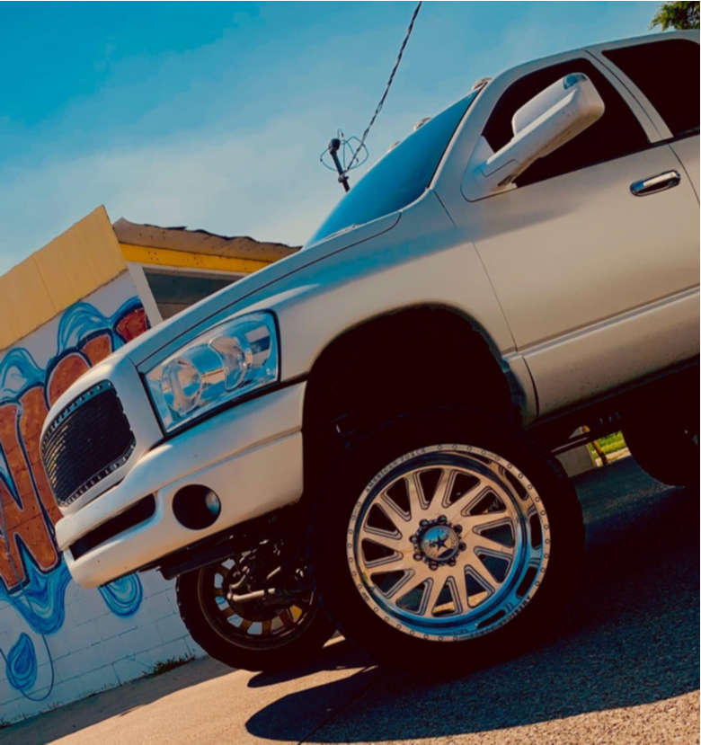 """2008 Dodge Ram 2500 Hella Stance >5"""" on 24x14 -88 offset American Force Aka Ss and 37""""x12.5"""" AMP Pro At on Suspension Lift 7.5"""" - Custom Offsets Gallery"""