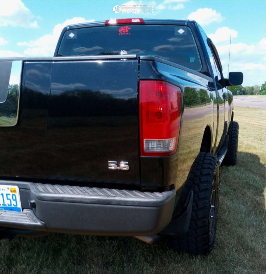 """2008 Nissan Titan Aggressive > 1"""" outside fender on 18x9 0 offset Panther Offroad 904 and 33""""x12.5"""" Delium Terra Raider on Suspension Lift 4"""" - Custom Offsets Gallery"""