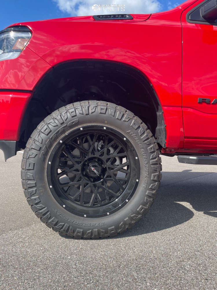 """2021 Ram 1500 Aggressive > 1"""" outside fender on 22x10 -19 offset Vision Rocker and 37""""x12.5"""" Nitto Ridge Grappler on Suspension Lift 6"""" - Custom Offsets Gallery"""