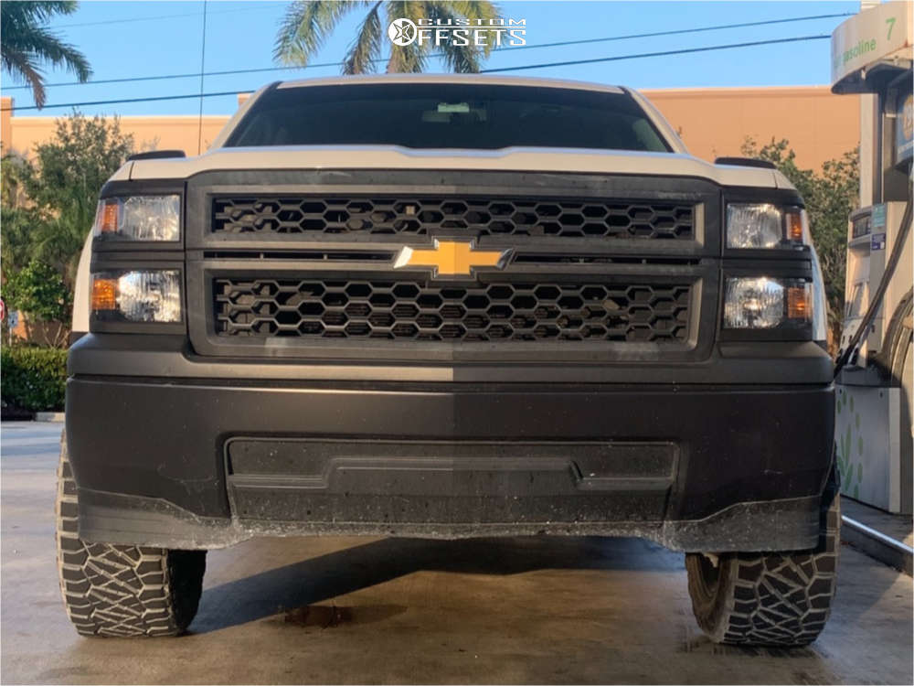 """2015 Chevrolet Silverado 1500 Aggressive > 1"""" outside fender on 20x10 -24 offset Wicked Offroad W901 and 295/55 Nitto Ridge Grappler on Suspension Lift 3.5"""" - Custom Offsets Gallery"""