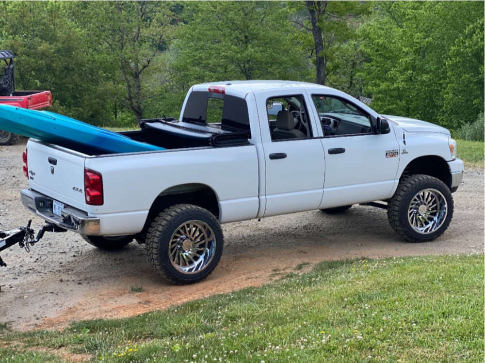 """2008 Dodge Ram 2500 Aggressive > 1"""" outside fender on 22x12 -51 offset ARKON OFF-ROAD Caesar and 35""""x12.5"""" Mud Claw Mud Claw Extreme M/t on Suspension Lift 2.5"""" - Custom Offsets Gallery"""