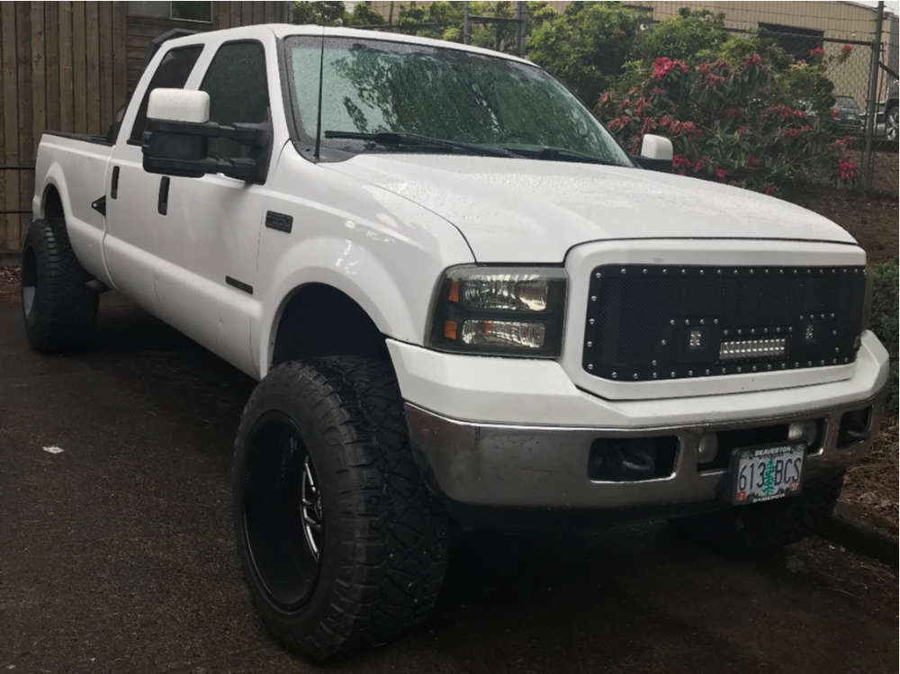 """2002 Ford E-350 Super Duty Flush on 22x13 6 offset Mayhem Riot and 37""""x13.5"""" Goodyear Other on Leveling Kit - Custom Offsets Gallery"""
