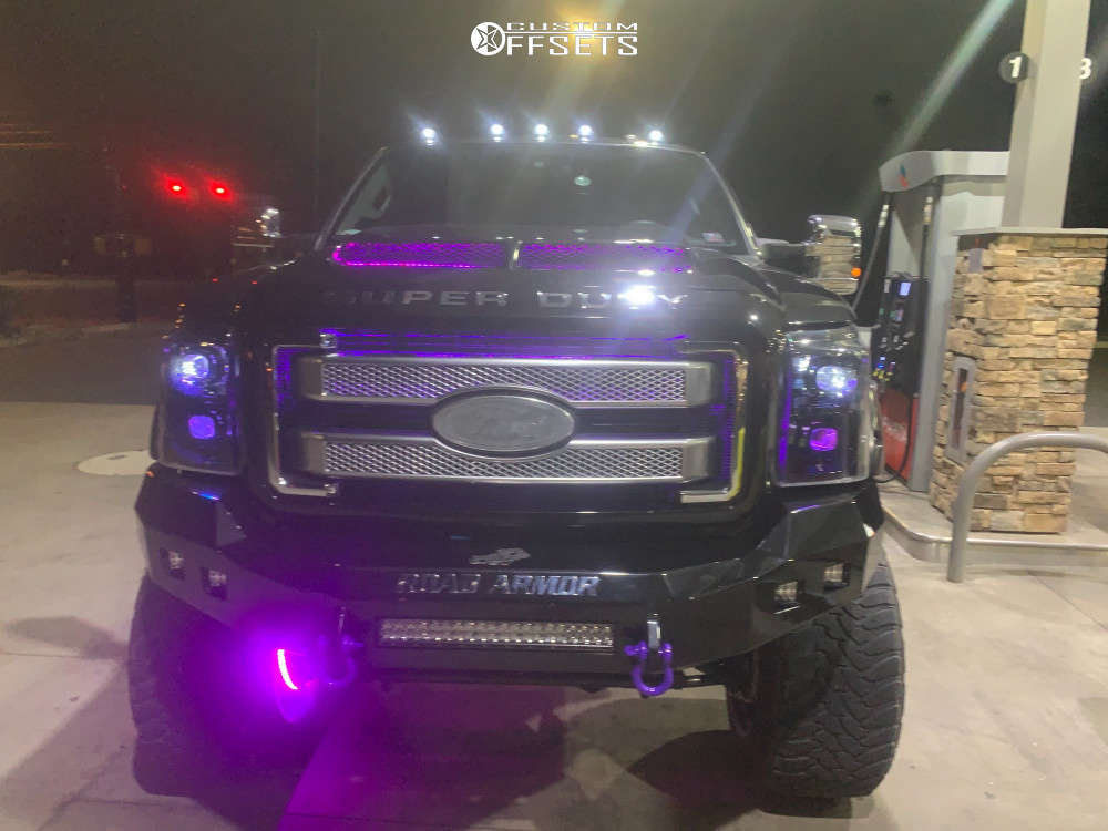 """2015 Ford F-350 Super Duty Aggressive > 1"""" outside fender on 24x16 -69.85 offset American Force Blaze Sf and 40""""x15.5"""" Toyo Tires Open Country M/t on Suspension Lift 10"""" - Custom Offsets Gallery"""