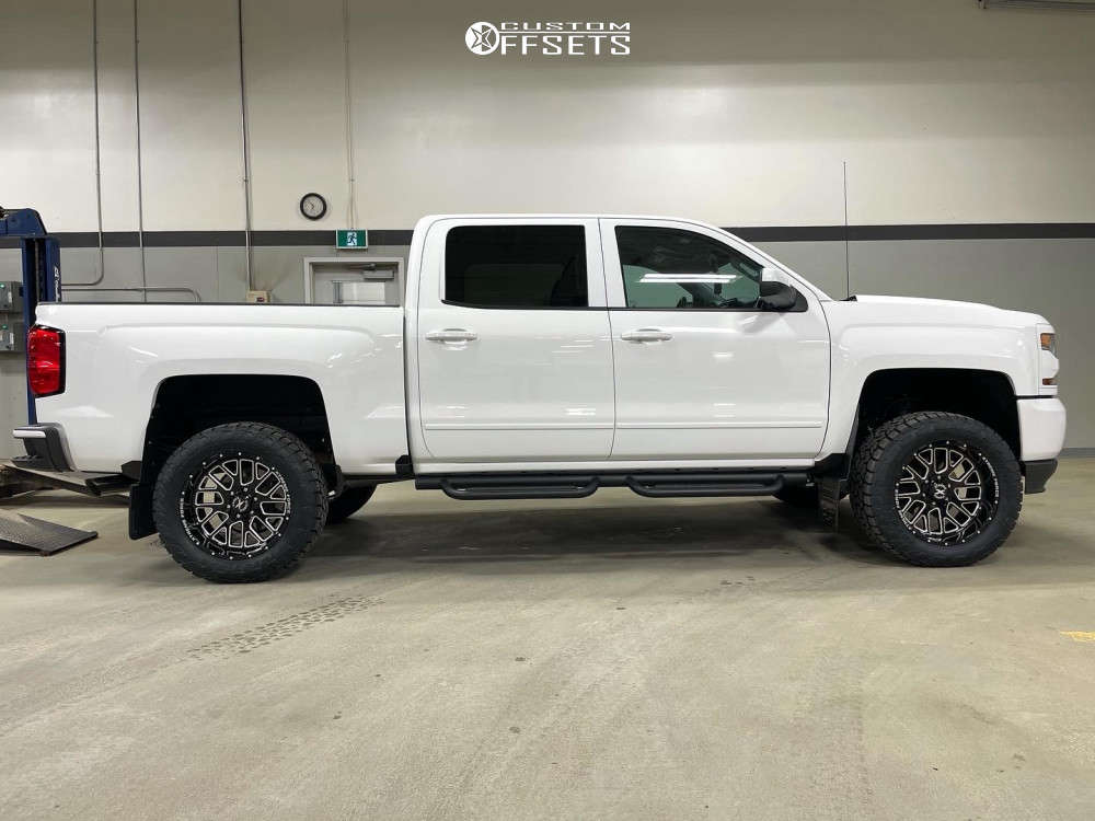 """2018 Chevrolet Silverado 1500 Aggressive > 1"""" outside fender on 20x10 -25 offset Xtreme Force Xf10 and 295/55 Toyo Tires Open Country A/t Ill on Suspension Lift 4"""" - Custom Offsets Gallery"""
