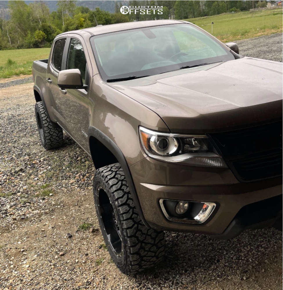 """2016 Chevrolet Colorado Aggressive > 1"""" outside fender on 20x10 -24 offset American Offroad A108 and 32""""x10.5"""" Kenda Klever R/t on Suspension Lift 4"""" - Custom Offsets Gallery"""