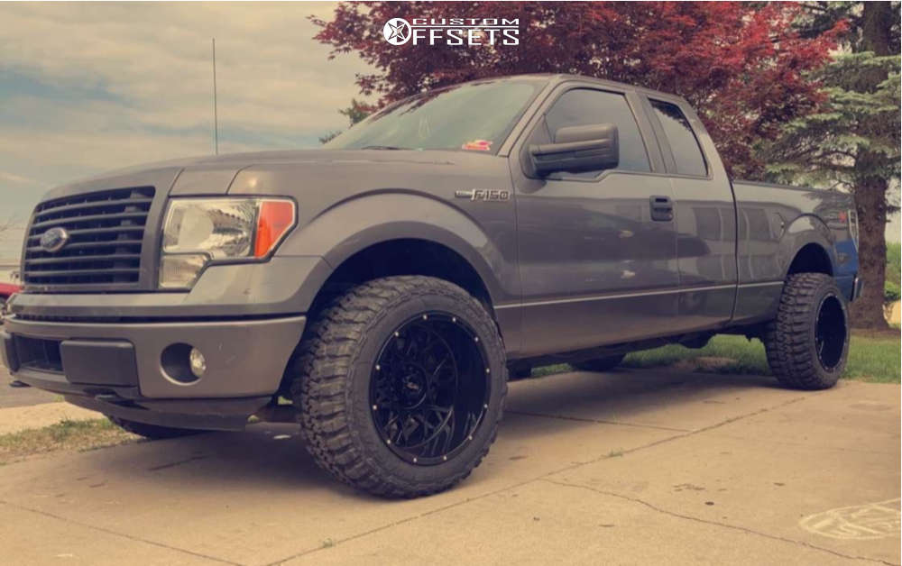"""2014 Ford F-150 Hella Stance >5"""" on 20x12 0 offset Vision Rocker and 33""""x12.5"""" Federal Couragia M/t on Leveling Kit - Custom Offsets Gallery"""