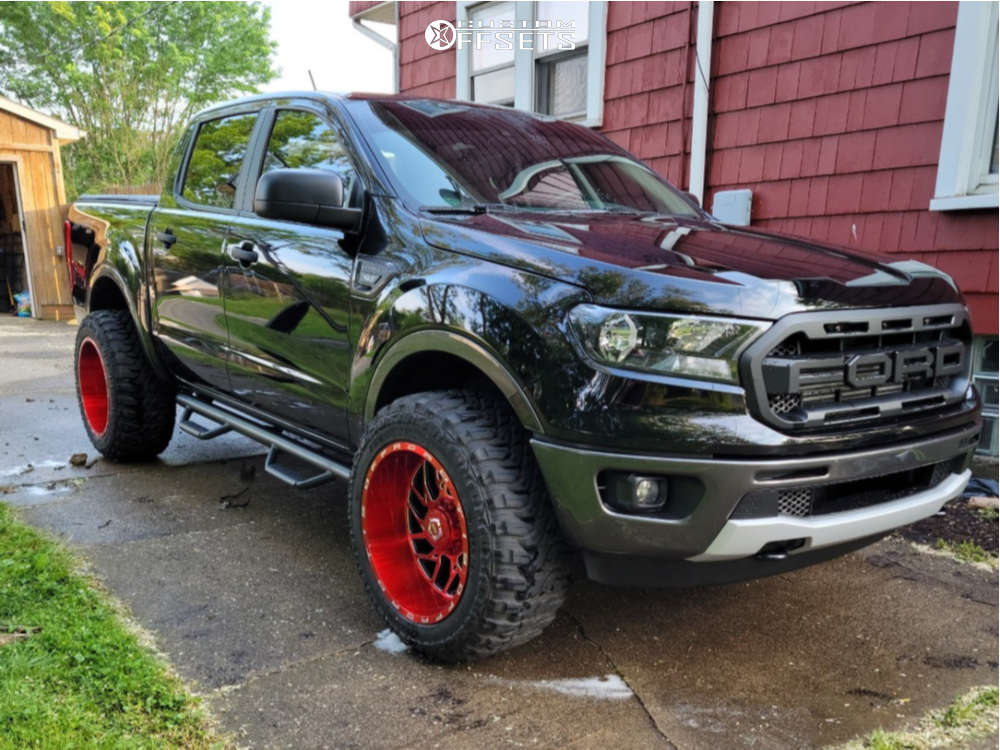 """2020 Ford Ranger Super Aggressive 3""""-5"""" on 20x12 -44 offset TIS 544rm and 33""""x12.5"""" Federal Xplora M/t on Stock Suspension - Custom Offsets Gallery"""