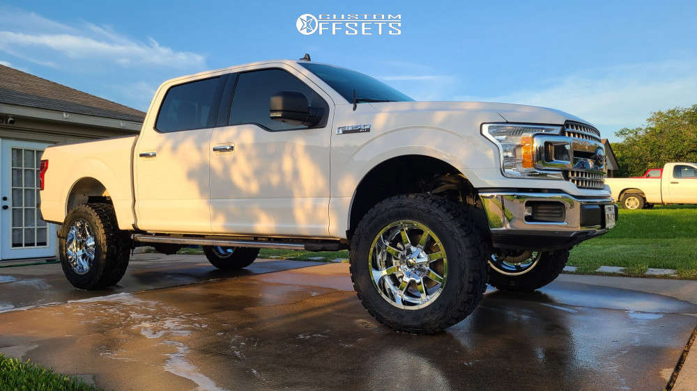 """2019 Ford F-150 Aggressive > 1"""" outside fender on 20x10 -18 offset Fuel Maverick D536 and 35""""x12.5"""" Toyo Tires Open Country R/t on Suspension Lift 6"""" - Custom Offsets Gallery"""
