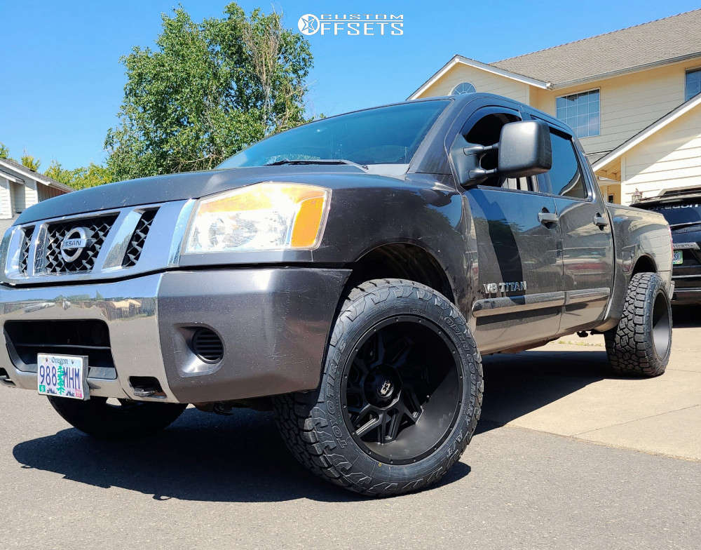"""2008 Nissan Titan Super Aggressive 3""""-5"""" on 20x12 -57 offset Vision Spider and 33""""x12.5"""" Toyo Open Country A/t Ii on Stock Suspension - Custom Offsets Gallery"""