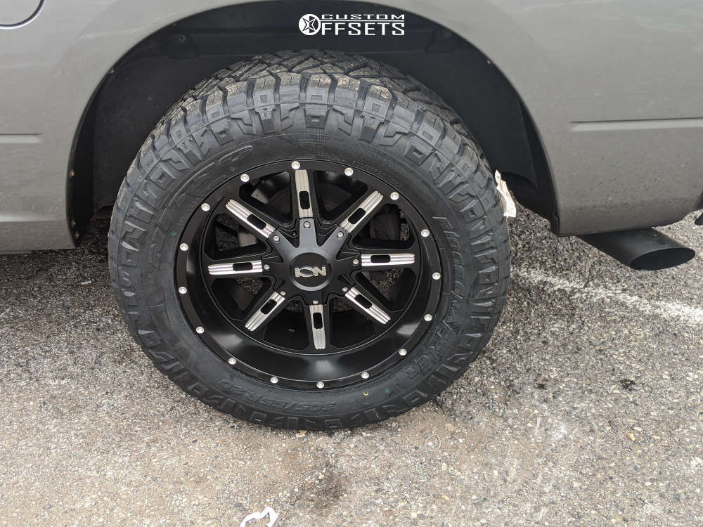 """2010 Dodge Ram 1500 Aggressive > 1"""" outside fender on 20x10 -18 offset Ion Alloy 184 and 285/65 Nitto Ridge Grappler on Leveling Kit - Custom Offsets Gallery"""