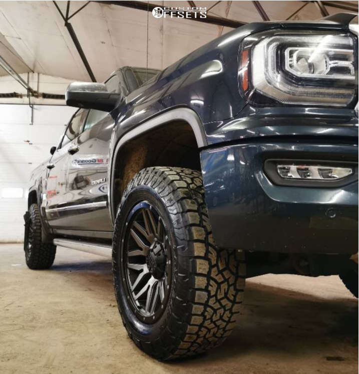 """2018 GMC Sierra 1500 Aggressive > 1"""" outside fender on 20x9 0 offset Fast Hd Menace and 35""""x11.5"""" Toyo Tires Open Country A/t Ill on Leveling Kit - Custom Offsets Gallery"""