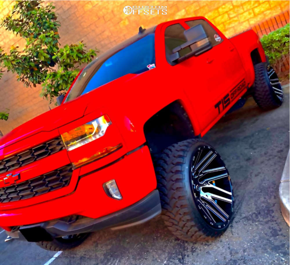 """2016 Chevrolet 1500 Super Aggressive 3""""-5"""" on 26x14 -76 offset TIS 554bm and 35""""x13.5"""" AMP Mud Terrain Attack M/t A on Suspension Lift 9.5"""" - Custom Offsets Gallery"""