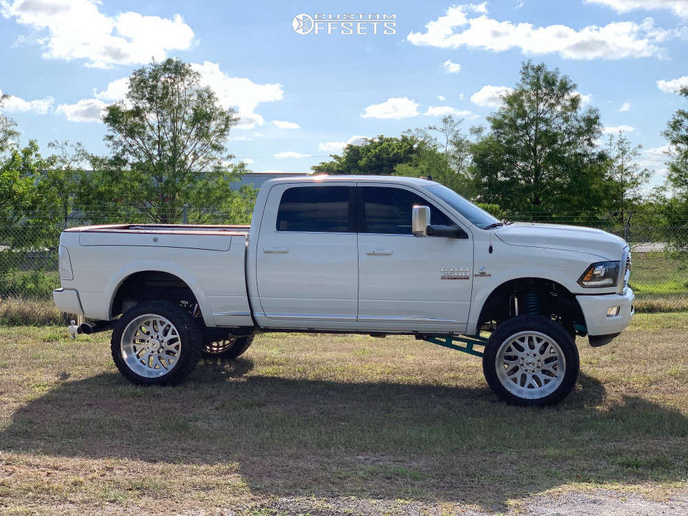 """2018 Ram 2500 Aggressive > 1"""" outside fender on 24x12 -44 offset Xf Offroad Xf-301 and 35""""x12.5"""" Nitto Terra Grappler G2 on Suspension Lift 6.5"""" - Custom Offsets Gallery"""