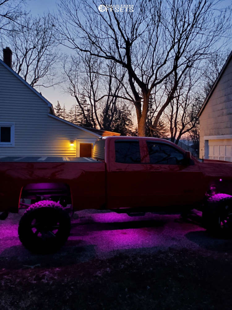 """2017 Chevrolet Silverado 1500 Hella Stance >5"""" on 22x14 -81 offset ARKON OFF-ROAD Lincoln and 375/65 Atturo Trail Blade Boss on Suspension Lift 8"""" - Custom Offsets Gallery"""