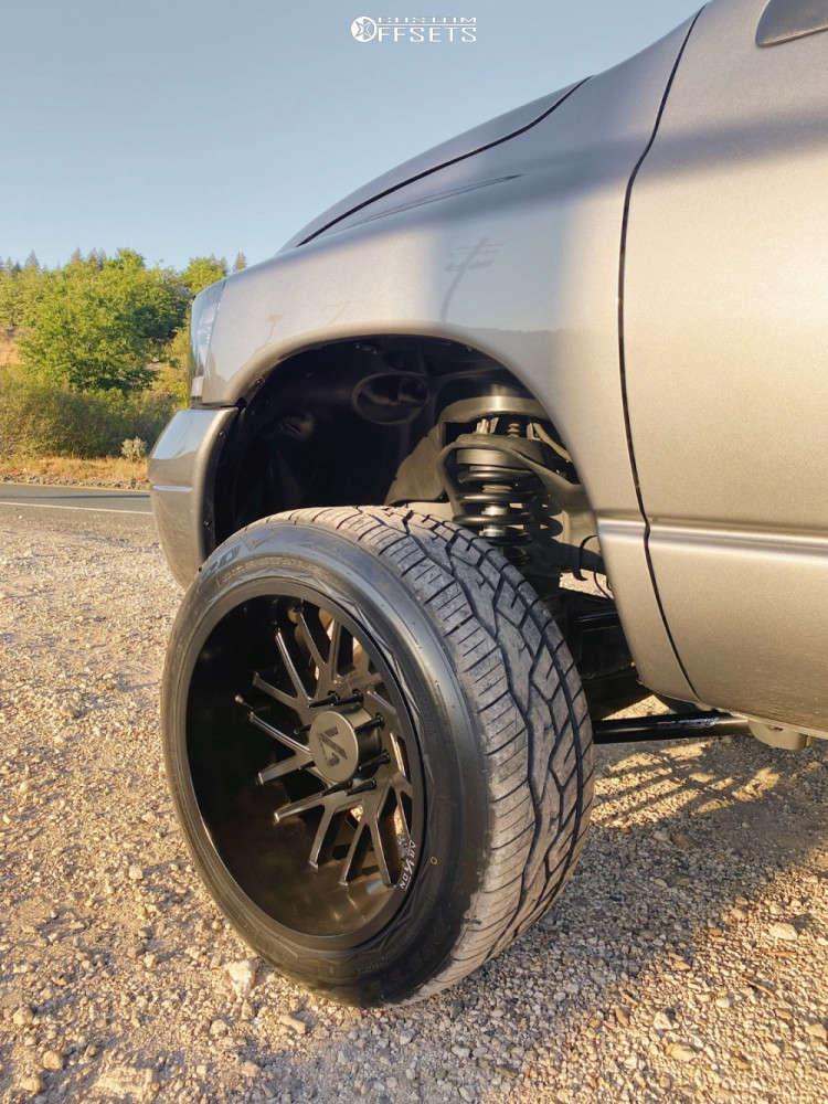 """2008 Dodge Ram 2500 Super Aggressive 3""""-5"""" on 22x12 -51 offset ARKON OFF-ROAD Mandela and 305/45 Nitto Nt420v on Leveling Kit - Custom Offsets Gallery"""
