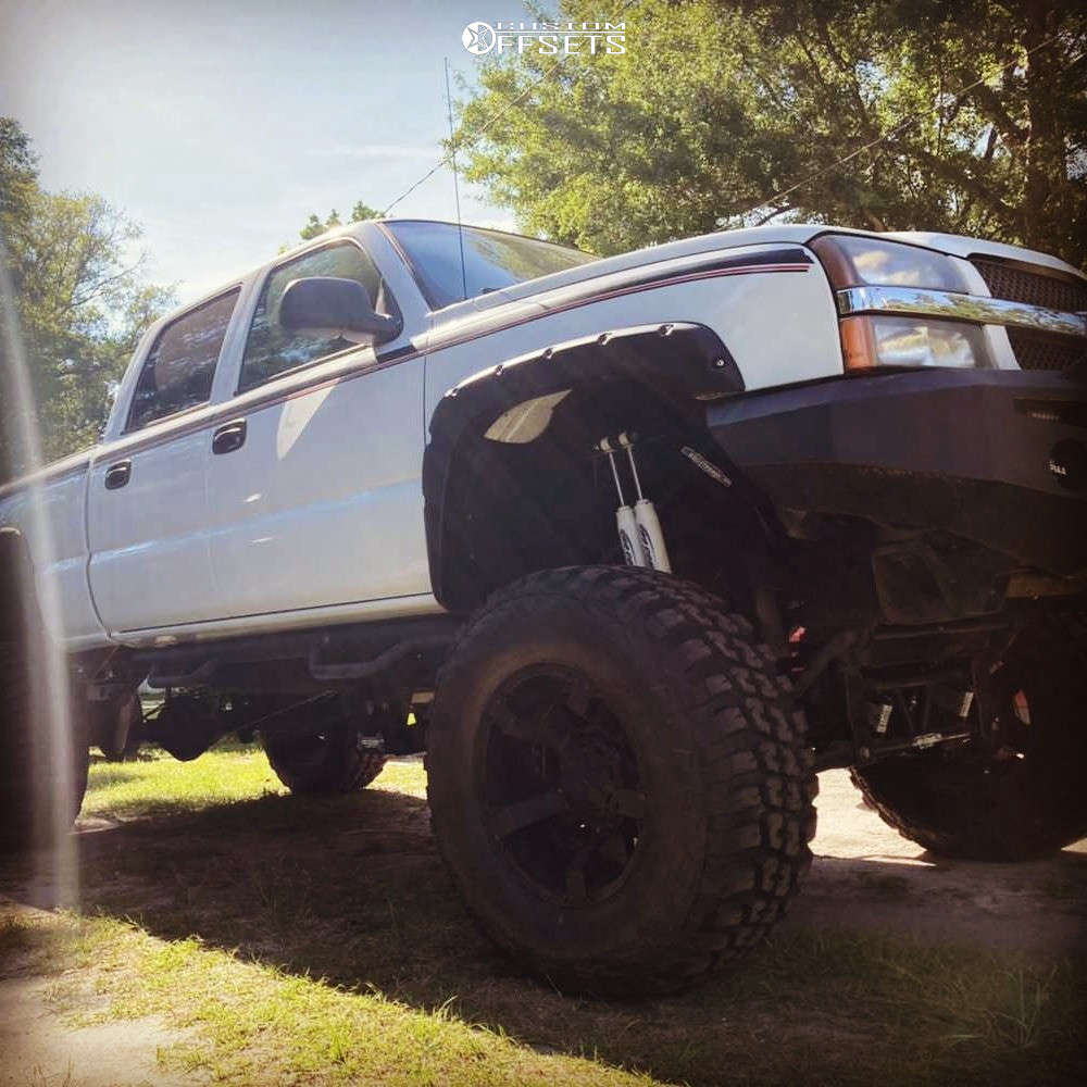 """2004 Chevrolet Silverado 2500 HD Nearly Flush on 20x12 -44 offset XD Xd811 and 40""""x15.5"""" Federal Couragia Mt on Lifted >12"""" - Custom Offsets Gallery"""