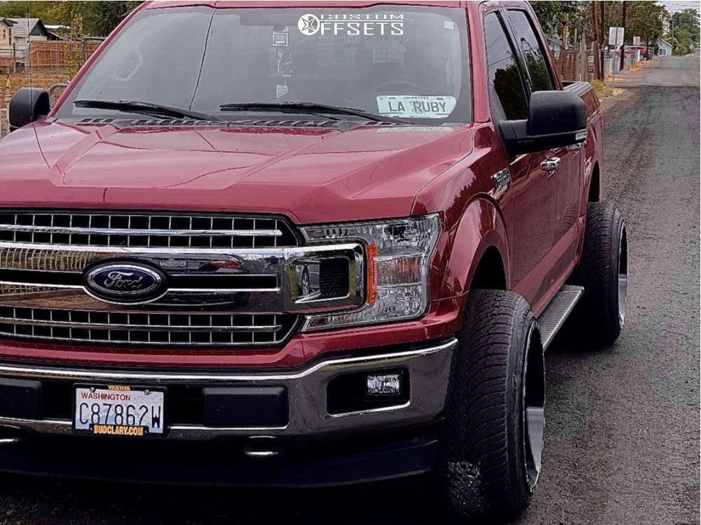 "2018 Ford F-150 Aggressive > 1"" outside fender on 22x14 -76 offset TIS 544bm and 305/50 Atturo Az800 on Leveling Kit - Custom Offsets Gallery"