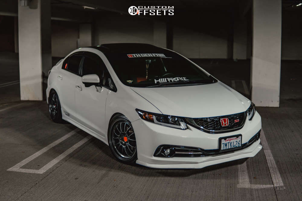 2015 Honda Civic Flush on 18x9 35 offset Kansei Corsa and 225/40 Federal 595 Ss on Coilovers - Custom Offsets Gallery
